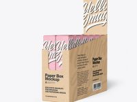 Kraft Paper Display Box with Boxes Mockup