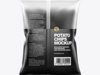 Frosted Bag With Corrugated Black Potato Chips Mockup