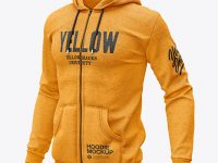 Melange Men's Full-Zip Hooded Sweatshirt Mockup