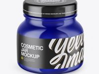 Blue Glass Cosmetic Jar Mockup – High-Angle Shot