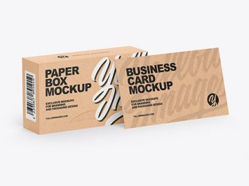 Kraft Box & Business Card Mockup