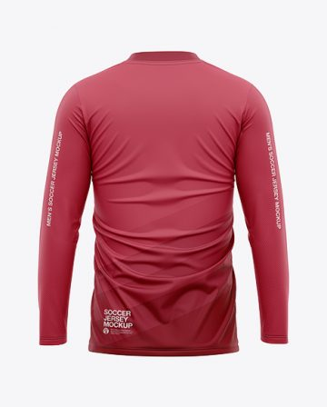 Men's Long Sleeve Soccer Jersey T-shirt Mockup - Back View