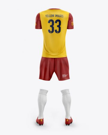 Men's Full Soccer Kit with Crew Neck Jersey mockup (Back View)