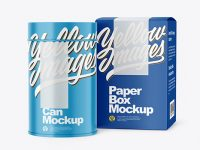 Can with Box Mockup
