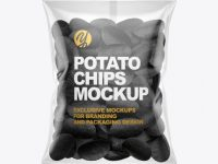 Bag With Black Potato Chips Mockup