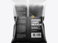 Frosted Bag With Black Potato Chips Mockup