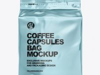 Metallic Bag with Coffee Capsules Mockup
