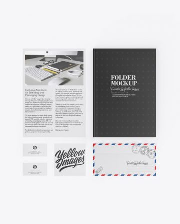 Folder W/ Papers, Business Cards, Envelope Mockup
