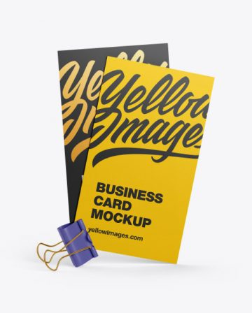 Two Business Cards w/ Clip Mockup