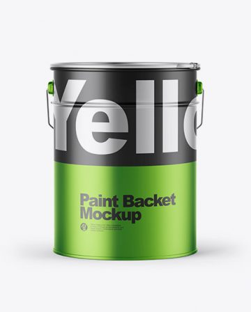 Matte Metallic Paint Bucket Mockup