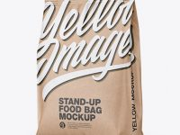 Kraft Stand-Up Bag Mockup - Half Side View