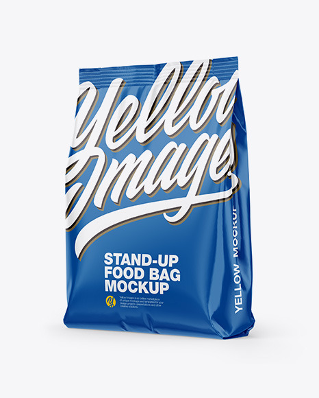 Glossy Stand-Up Bag Mockup - Half Side View