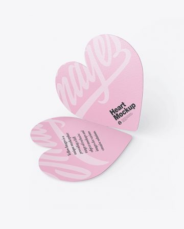 Two Textured Heart Shaped Cards Mockup