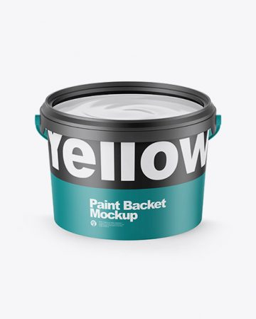 Opened Matte Paint Bucket Mockup