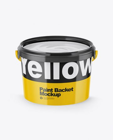 Opened Glossy Paint Bucket Mockup