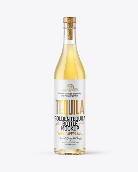 Golden Tequila Bottle Mockup