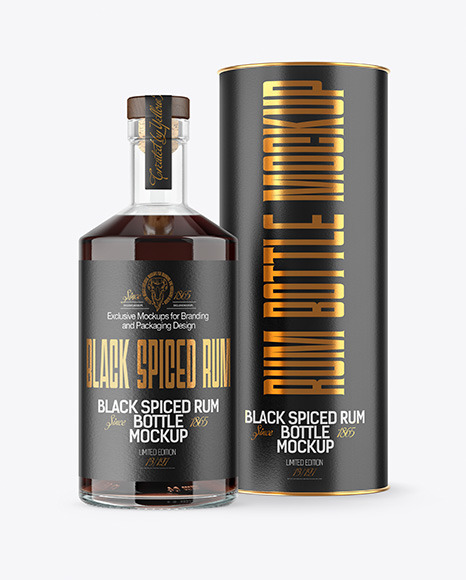 Black Rum Bottle with Tube Mockup