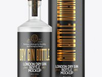 Frosted Glass Gin Bottle with Tube Mockup