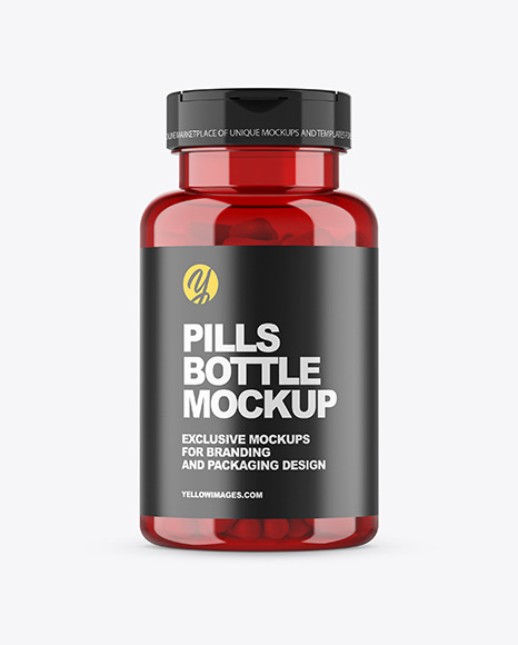Red Pills Bottle Mockup