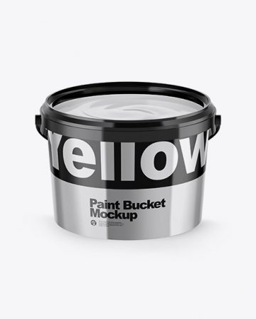 Opened Metallic Paint Bucket Mockup
