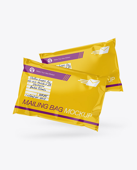 Two Glossy Mailing Bags Mockup - Front View