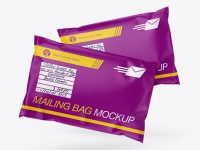 Two Matte Mailing Bags Mockup - Front View