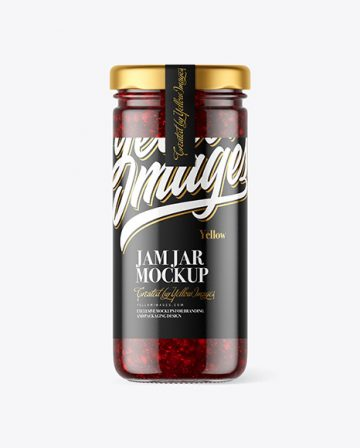 Clear Glass Jar with Cranberry Jam Mockup