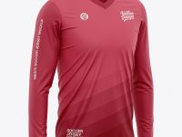 Men's Long Sleeve Soccer Jersey T-shirt Mockup - Front Half-Side View