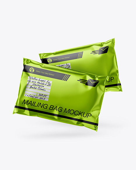 Two Metallic Mailing Bags Mockup - Front View