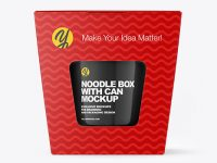 Paper Noodle Box with Can Mockup