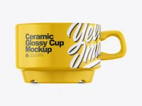 Ceramic Glossy Cup Mockup – Front View