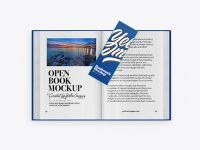 Opened Book with Bookmark Mockup