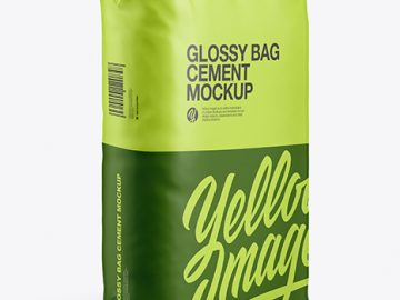 Glossy Paper Cement Bag Mockup