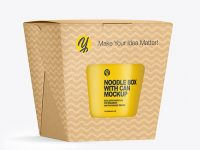 Kraft Noodle Box with Can Mockup