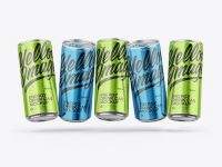Five Glossy Metallic Cans Mockup
