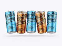 Five Matte Metallic Cans Mockup