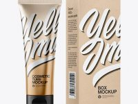 Metallic Cosmetic Tube with Kraft Box Mockup