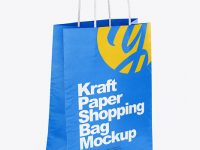 Textured Matte Paper Shopping Bag Mockup - Half Side View
