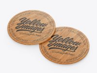 Wooden Beverage Coasters Mockup