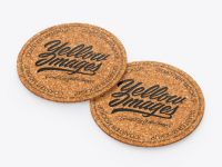 Cork Beverage Coasters Mockup