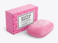 Soap Bar With Matte Cardboard Box Packaging Mockup - Half Side View
