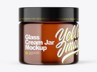 Amber Glass Cream Jar Mockup