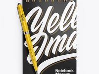 Glossy Notebook Mockup With Pen