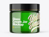 Green Glass Cream Jar Mockup