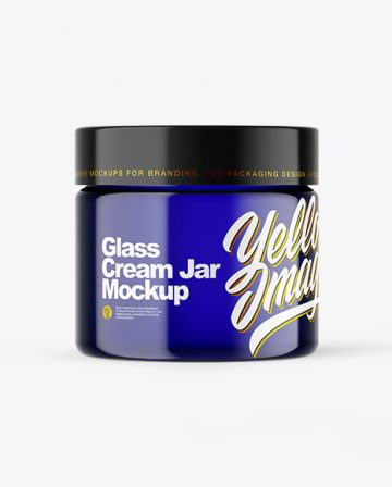 Blue Glass Cream Jar Mockup