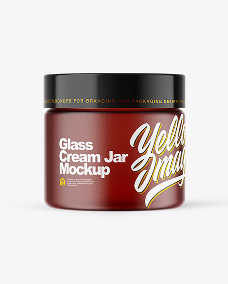 Frosted Amber Glass Cream Jar Mockup