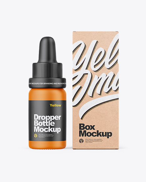 Matte Dropper Bottle W/ Kraft Box Mockup