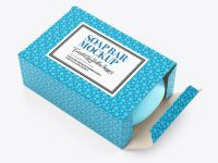 Matte Carton Box with Soap Mockup - High Angle View