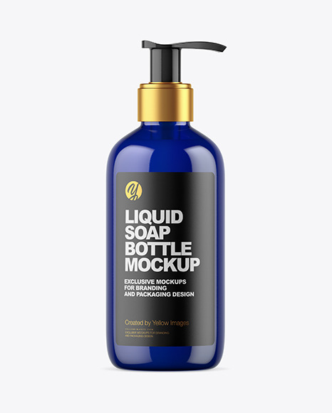 Dark Blue Liquid Soap Bottle with Pump Mockup