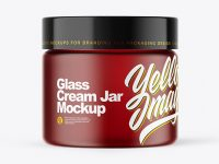 Frosted Dark Amber Glass Cream Jar Mockup